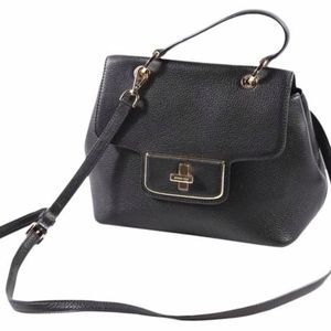 Emery Medium Satchel Black Leather Cross Body Bag